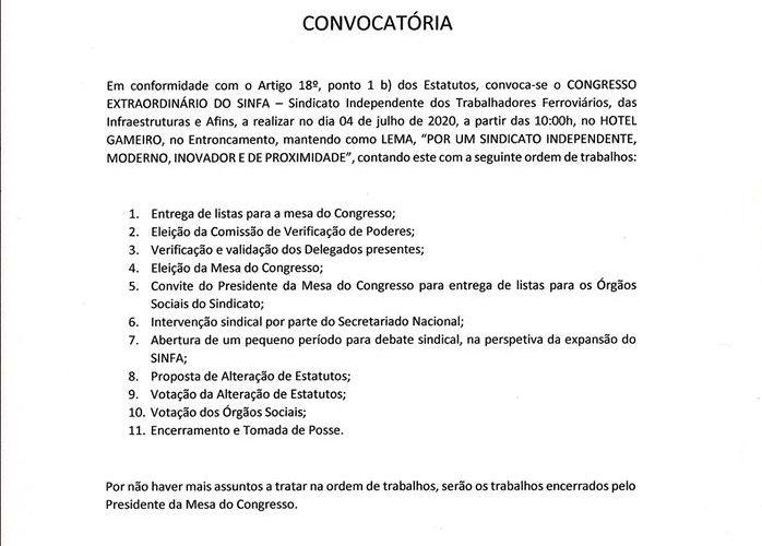 Convocatória para o congresso extraordinário em 04-07-2020